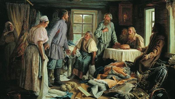 Картина В. Максимова «Семейный раздел» (1876)