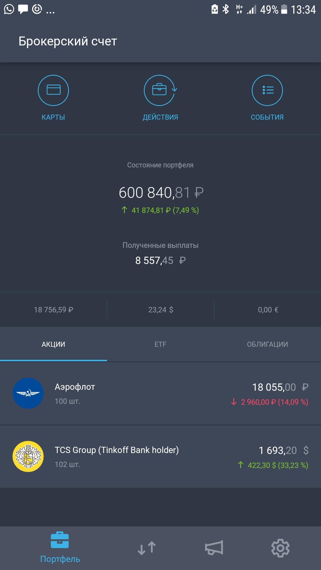 За то время, пока я держал акции Тинькофф-банка и «Аэрофлота», Тинькофф-банк вырос на 33%, «Аэрофлот» упал на 14%