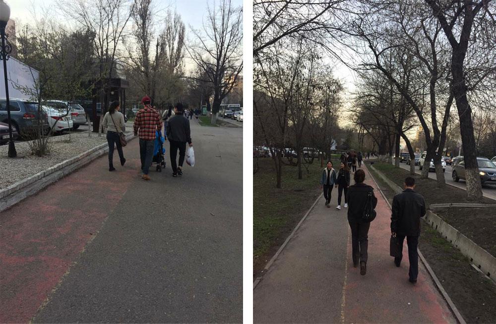 Часть велодорожек — это просто окрашенный кусок тротуара, по которому продолжают ходить пешеходы