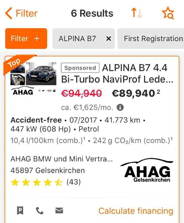 Привыборе автосалона важно обратить внимание на его рейтинг на Mobile.de. Это одно из объявлений о продаже Альпины 2020года
