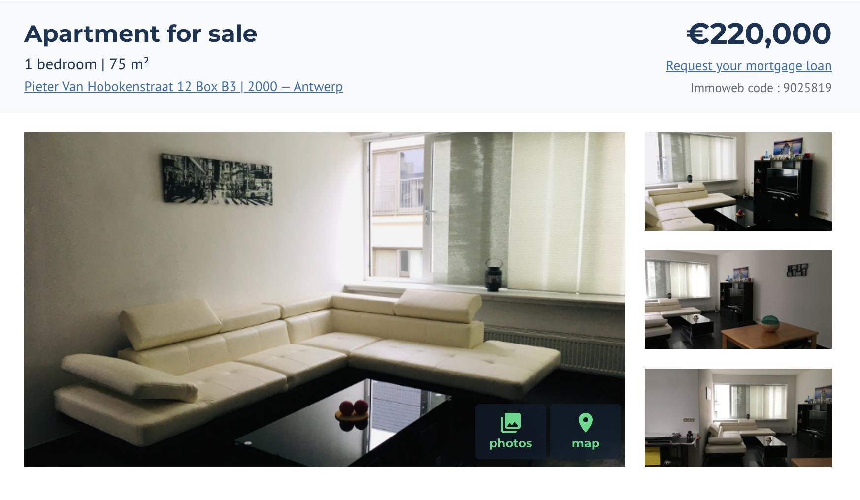 Двухкомнатная квартира площадью 75м² всамом центре города за220000€