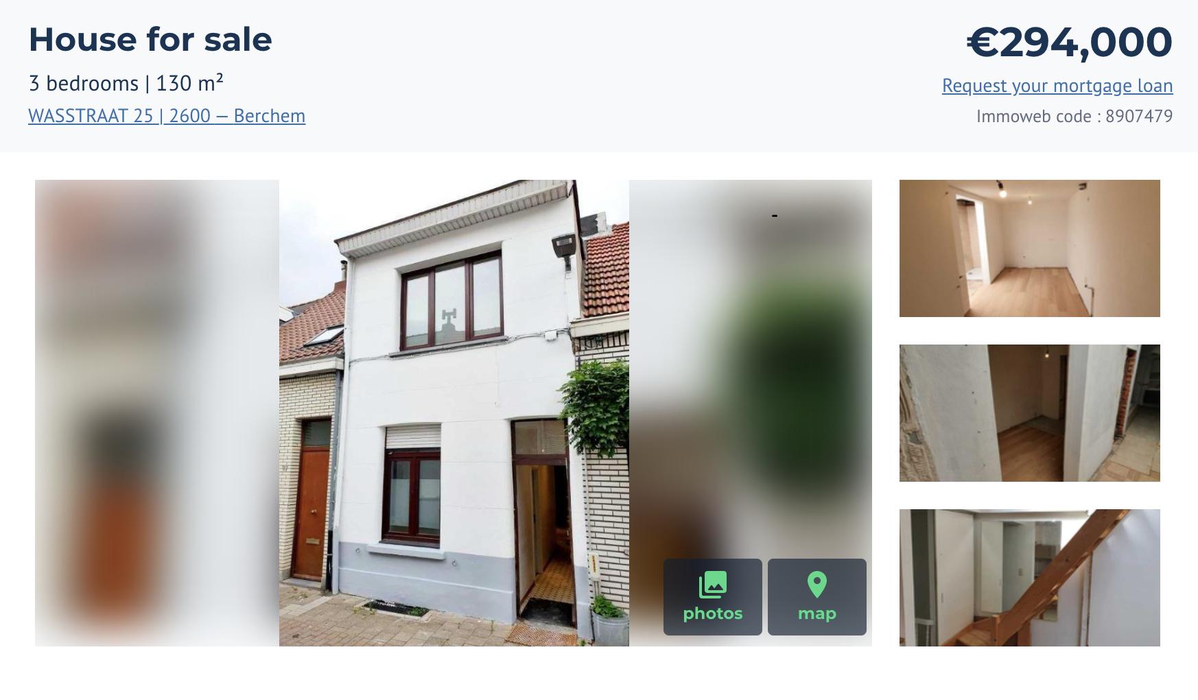 Небольшой дом стремя спальнями игостиной общей площадью 130м² внашем районе Берхем — это южная часть Антверпена. Дом стоит 294000€
