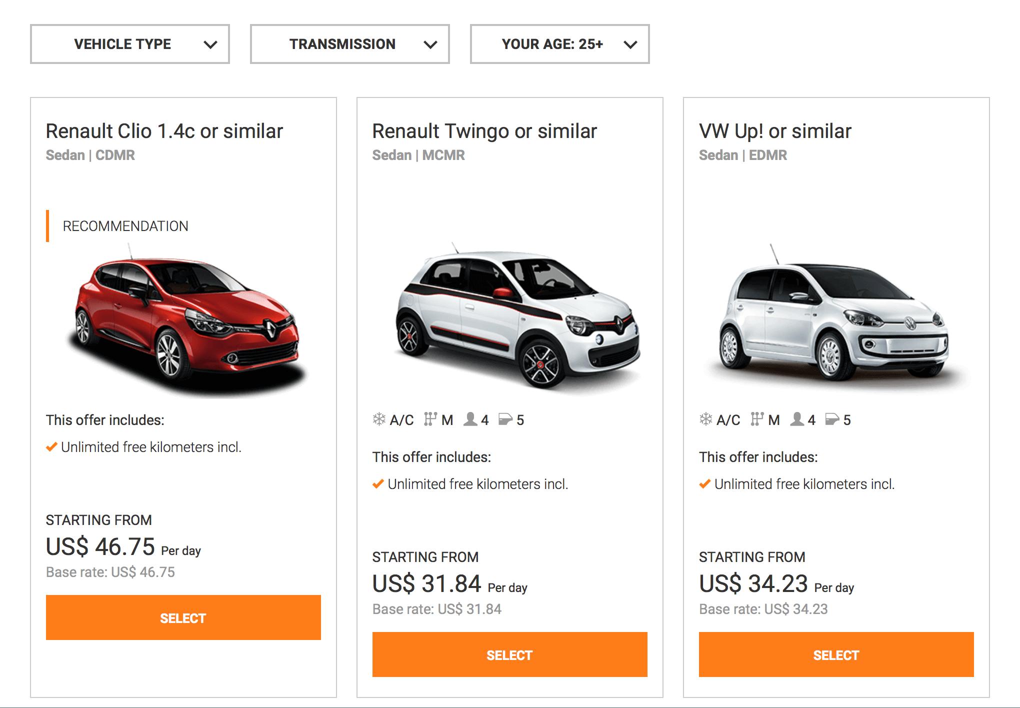 Если бронировать заранее, можно найти машину за 32€