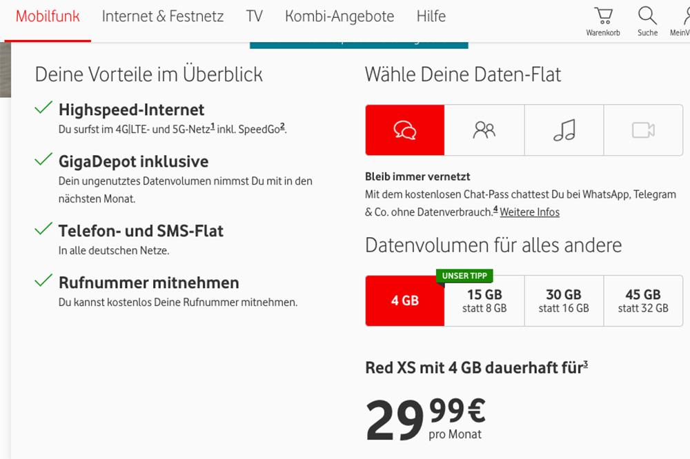 Цены на мобильную связь от Vodafone — 4 Гб обойдутся в 29,99€