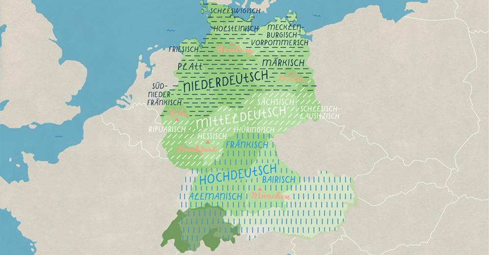 На карте видно, где на каких диалектах разговаривают