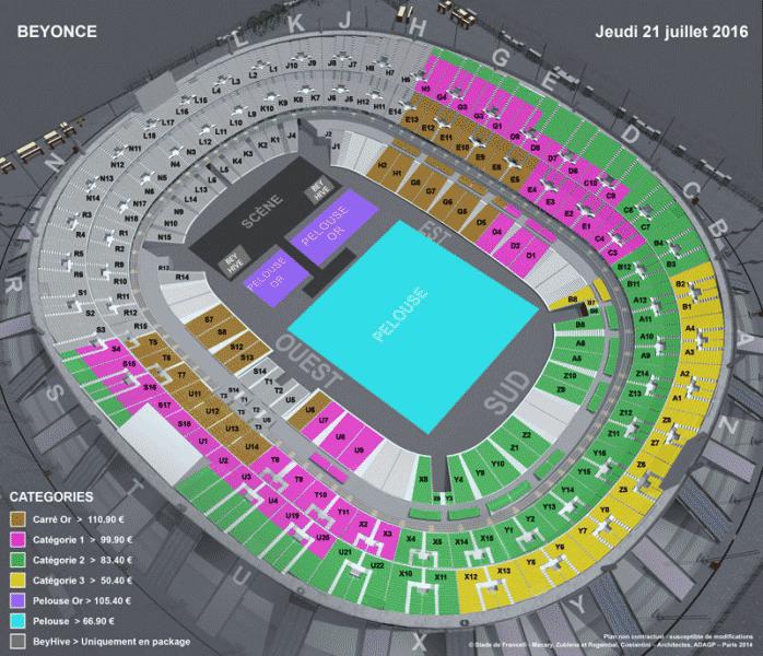 Схема стадиона «Стад де Франс» на концерт Бейонсе. Я купила билет в зоне Е3 за 7050<span class=ruble>Р</span>