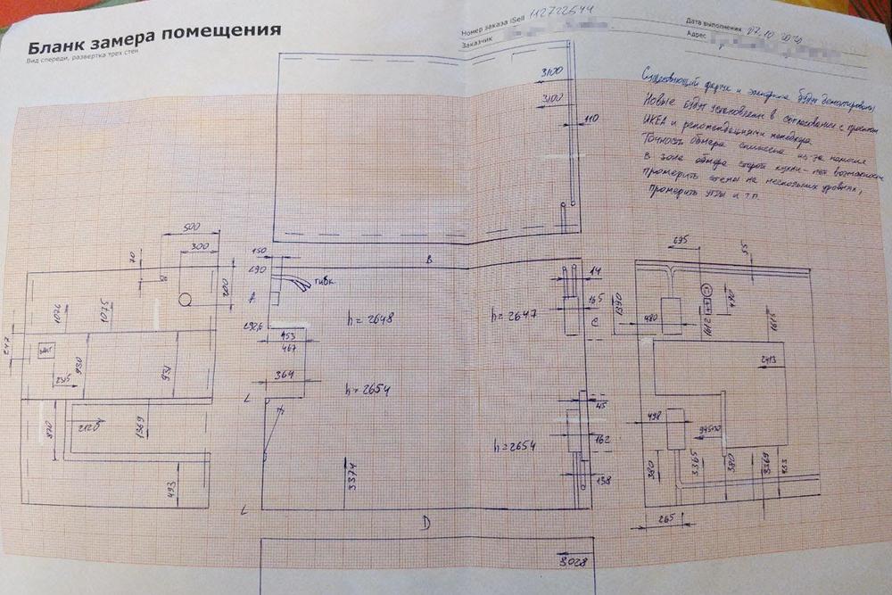 Оценщик сфотографировал иописал все дефекты, апотом замерил помещение, чтобы «Икея» могла поэтим замерам составить проект аналогичной кухни