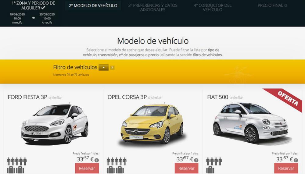 Аренда машины на Лансароте стоит от 33,57€ в день прибронировании на сайте Cicar