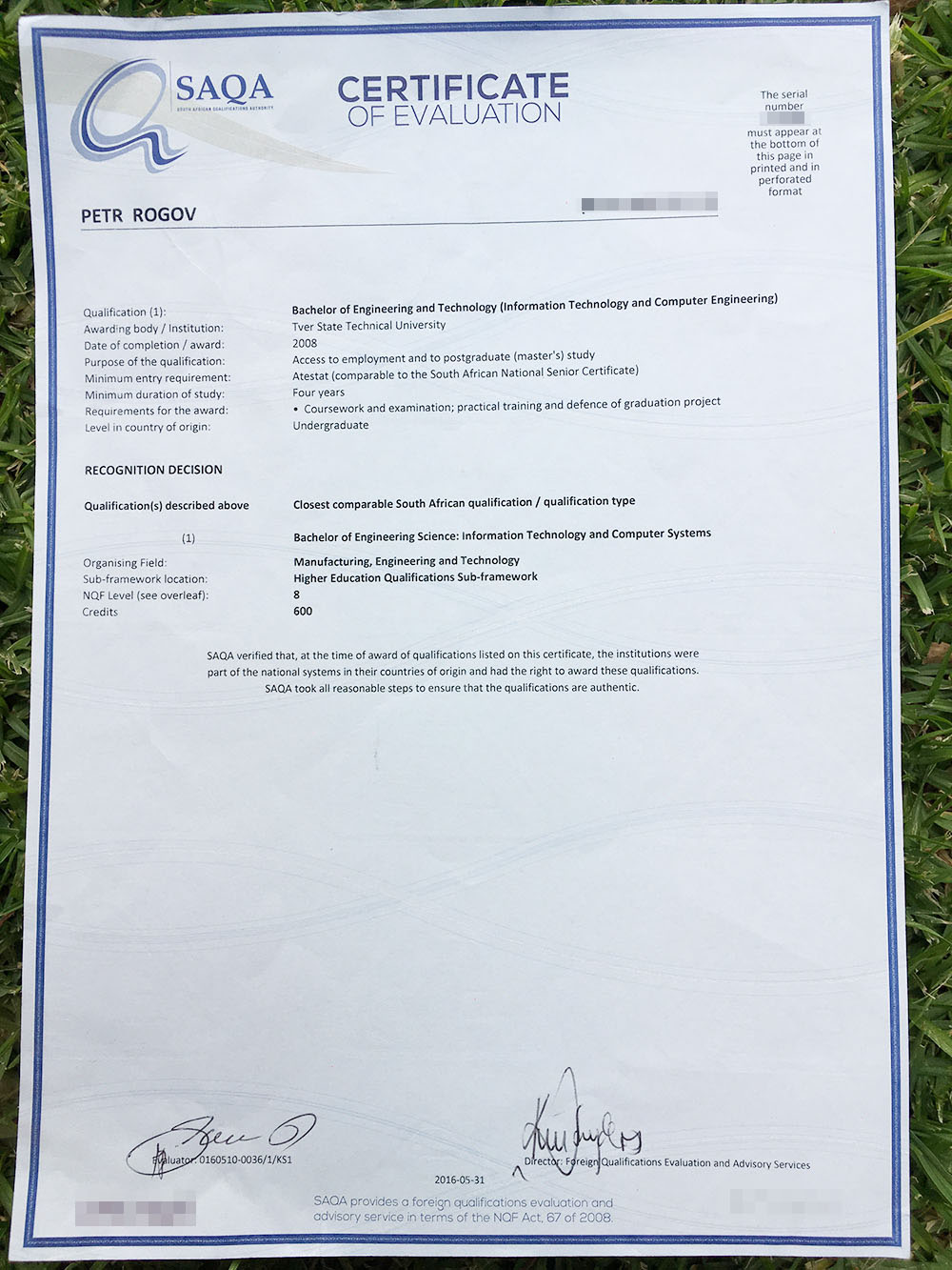 Сертификат о подтверждении российского диплома мужа от агентства SAQA