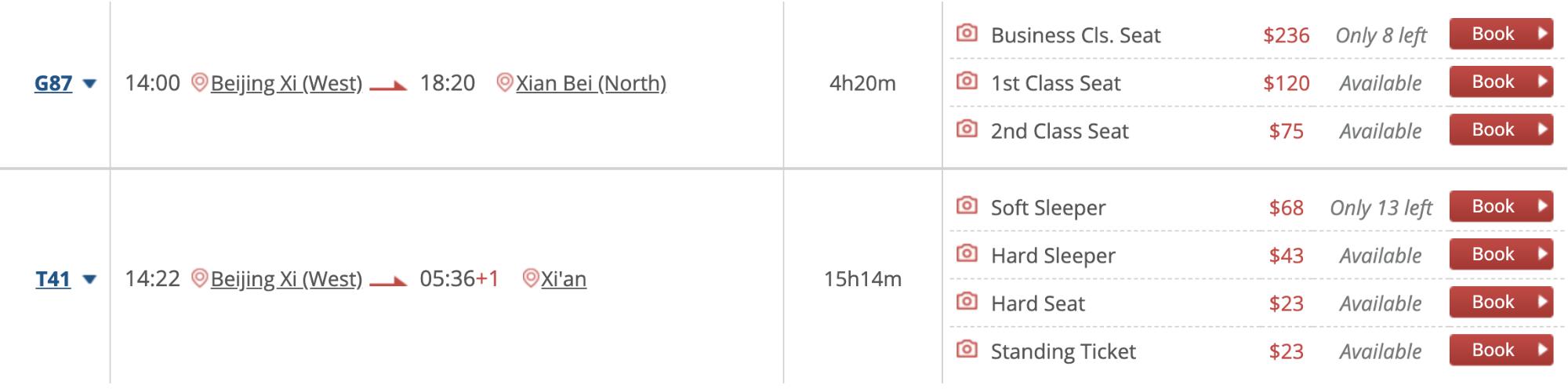 Цена билета зависит от класса поезда. В верхней строчке — скорый поезд, а ниже — обычный, он в пути в три раза дольше