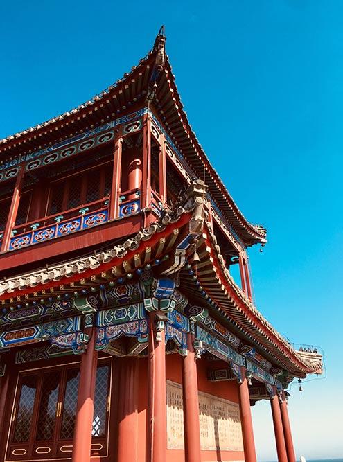 Китайские крыши в парке у моря