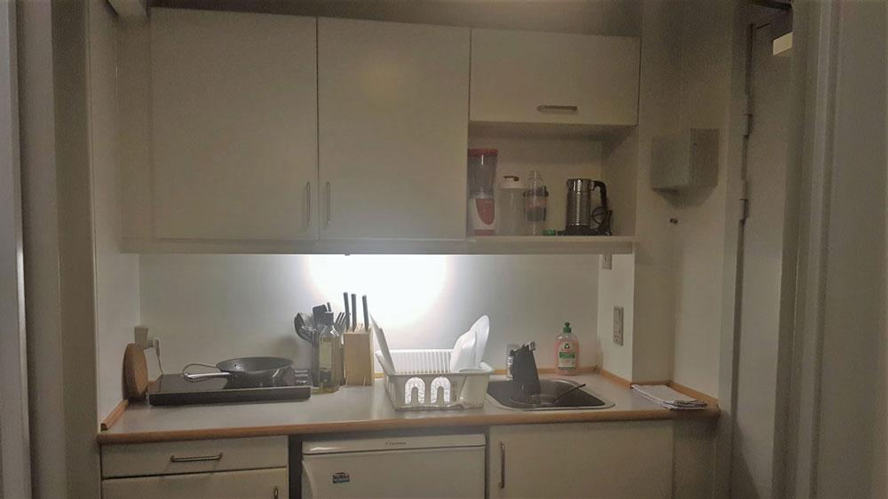 В комнате была небольшая кухня