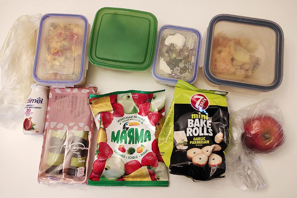 Набор еды на понедельник, конфетки и сухарики на несколько дней. «Маленькая продуктовая лавка» — этим прозвищем меня награждает парень каждый понедельник