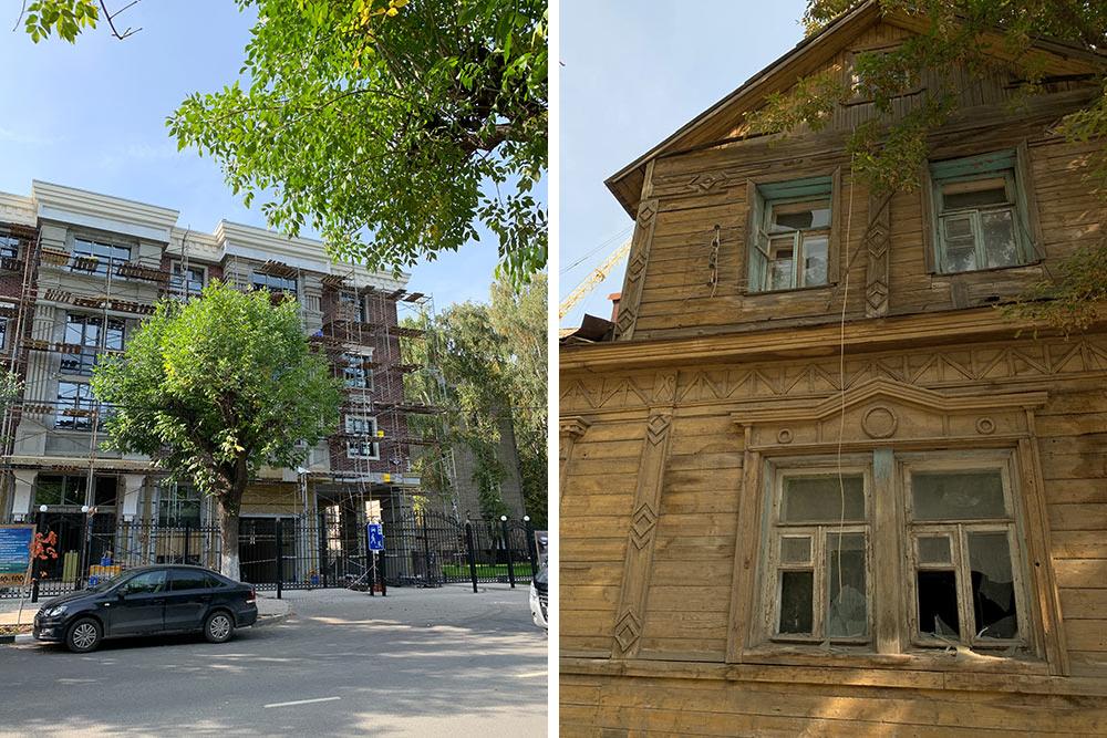 В Рязани очень контрастная застройка. Новый клубный дом с прайсом от 110тысяч за квадрат стоит напротив заброшки