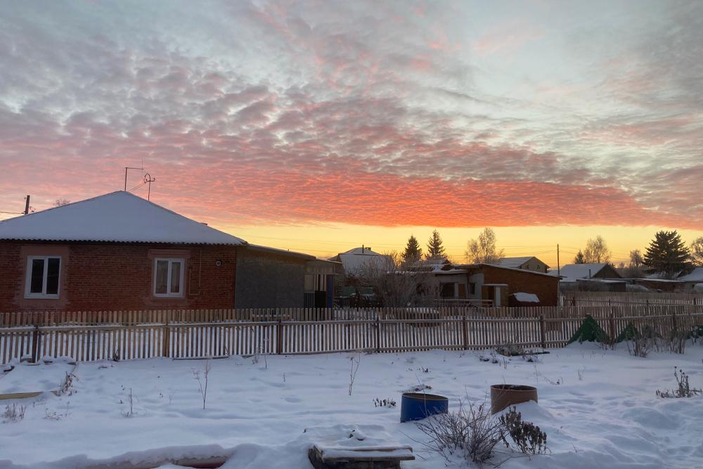 Сегодня красивый морозный рассвет
