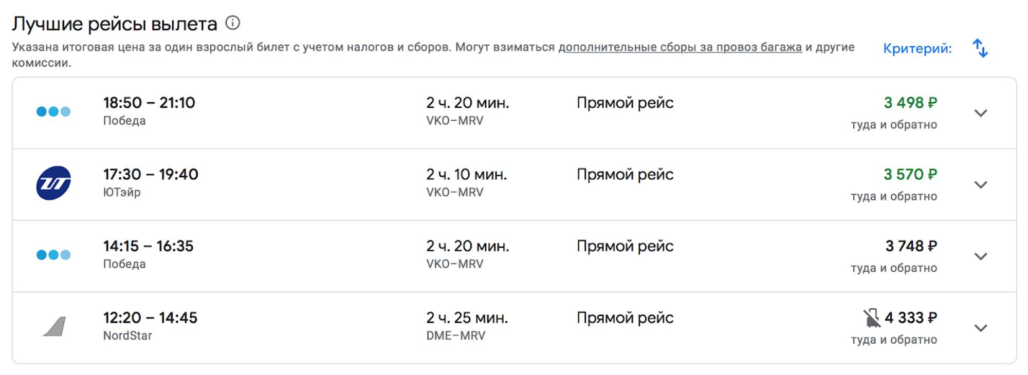 Цены на авиабилеты экономкласса с вылетом из Москвы 11 марта 2021года и возвращением из Минеральных Вод 18 марта. Источник: google.com