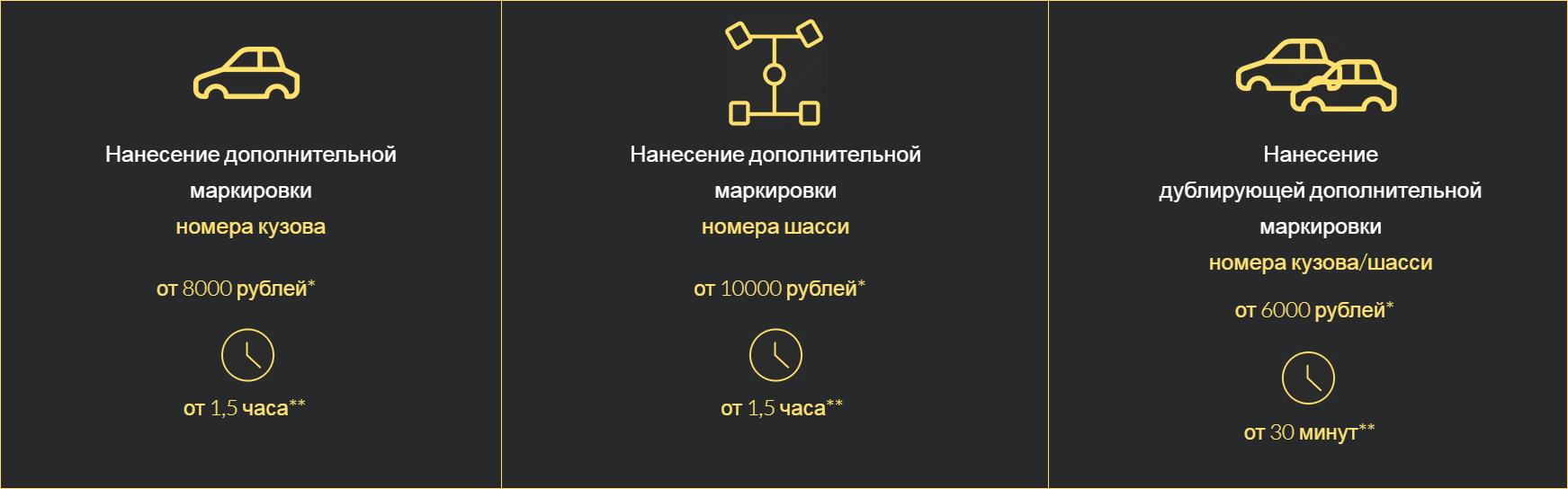 Цены на дополнительную маркировку в многофункциональном центре «Автодокумент» начинаются от 6000<span class=ruble>Р</span>, время выполнения работы — от 30 минут до полутора часов