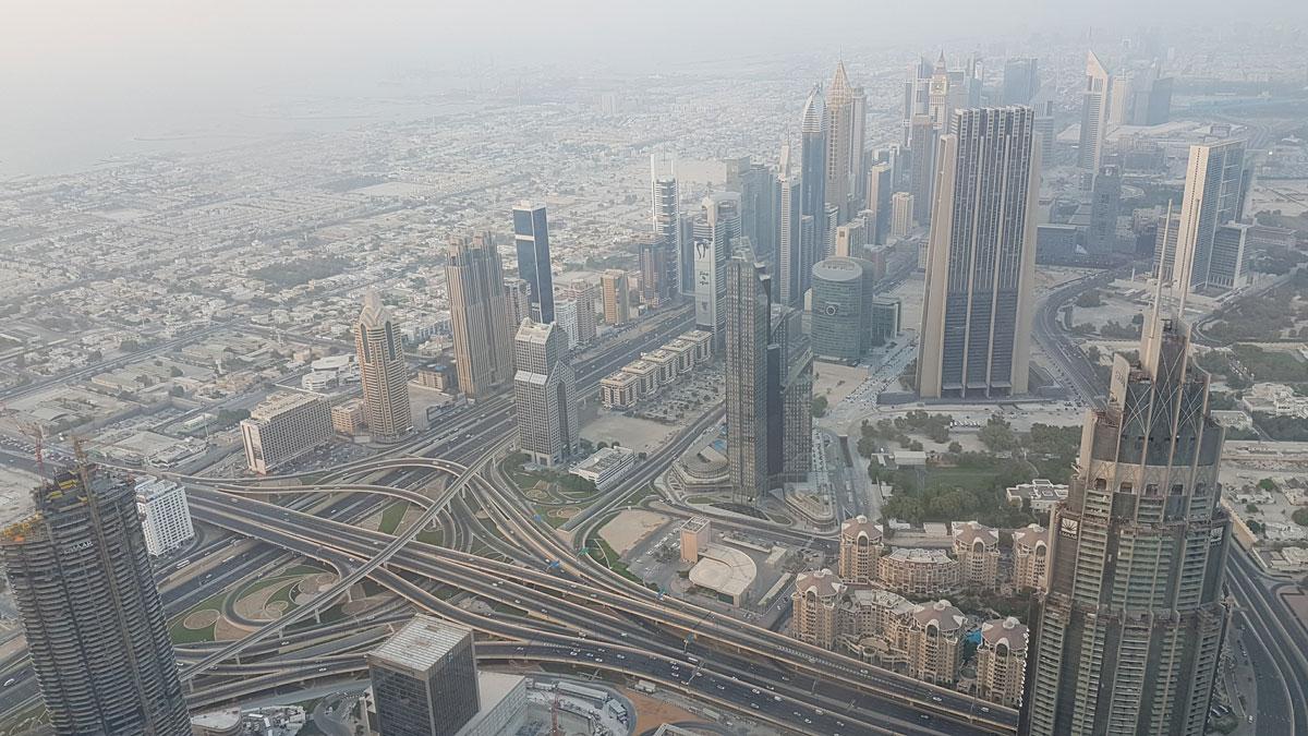 Вид на Дубай с небоскреба Бурдж-Халифа