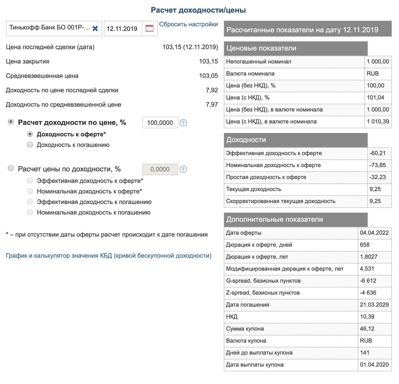Сведения об облигации Тинькофф 001Р-02R в калькуляторе на сайте Московской биржи. В правом нижнем углу — данные о дюрации