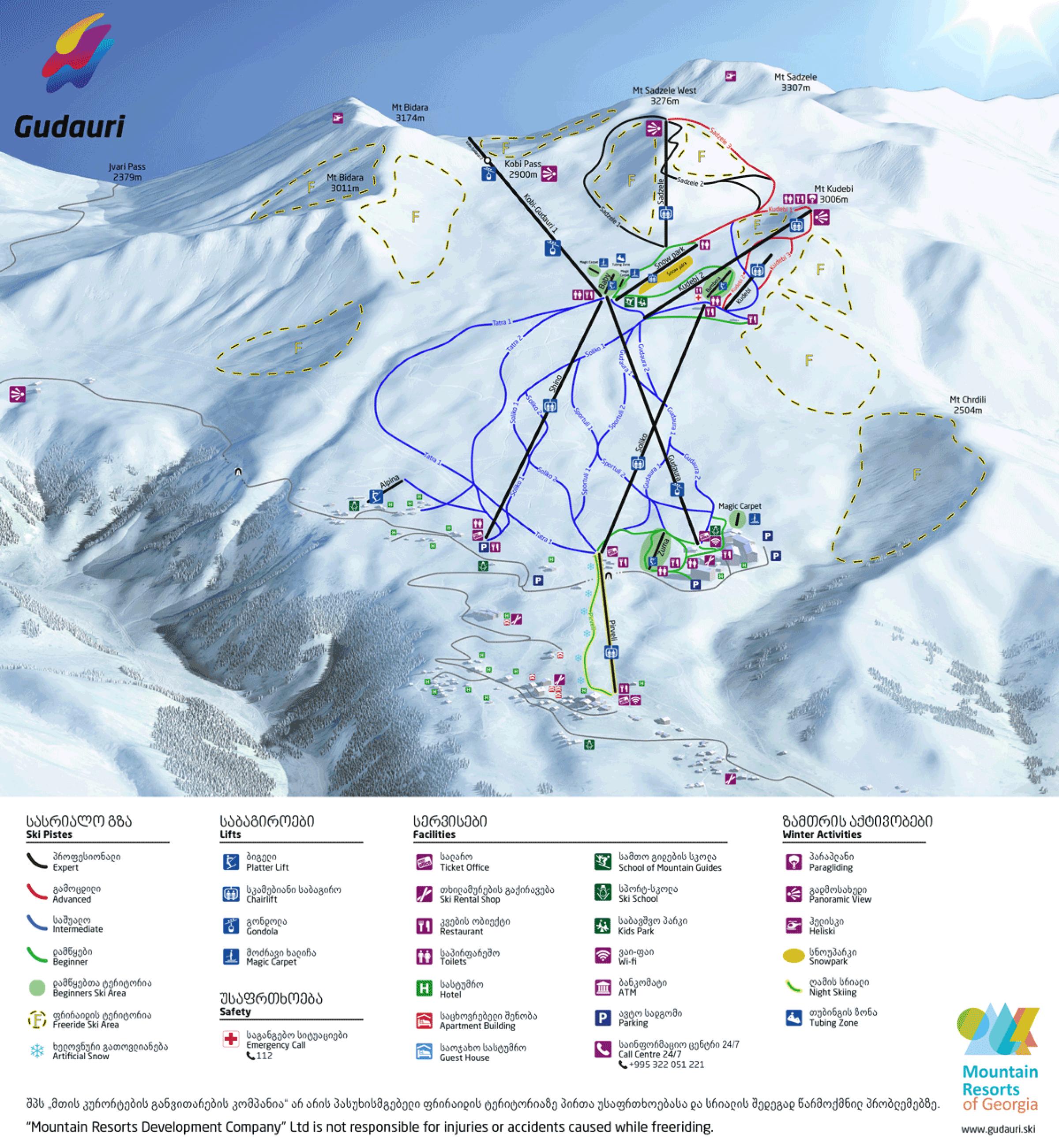 Карта трасс Гудаури. Источник: сайт Гудаури