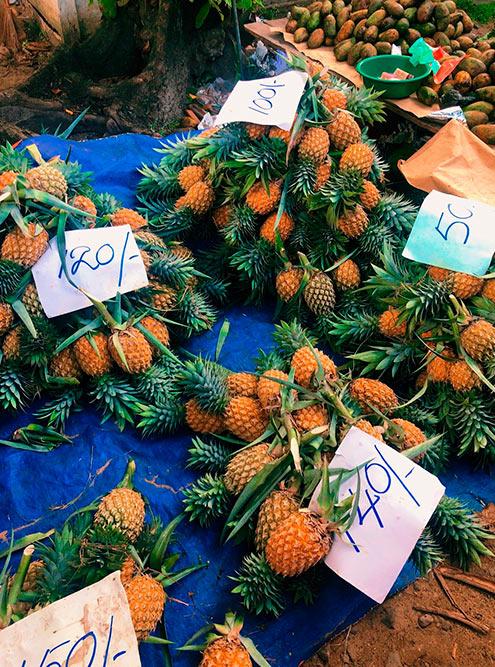 Ананасы продают поштучно в зависимости от размера. Маленький фрукт стоит 50 Rs (20<span class=ruble>Р</span>), ананас привычного размера — 180 Rs (70<span class=ruble>Р</span>)