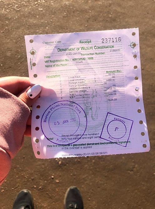 Чек за вход в парк. Цена билета для местных — 60 Rs (23<span class=ruble>Р</span>), для&nbsp;иностранцев — 2730 Rs (1065<span class=ruble>Р</span>)