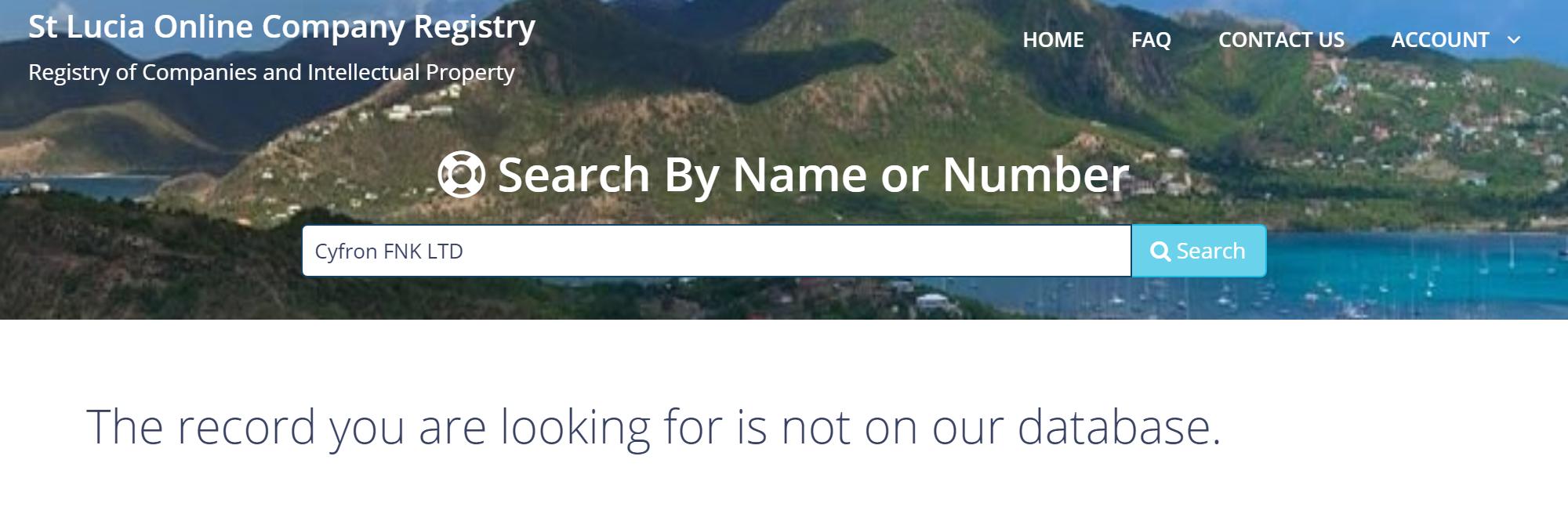Поиск компании Cyfron FNK LTD в реестре компаний Сент-Люсии не дал результатов