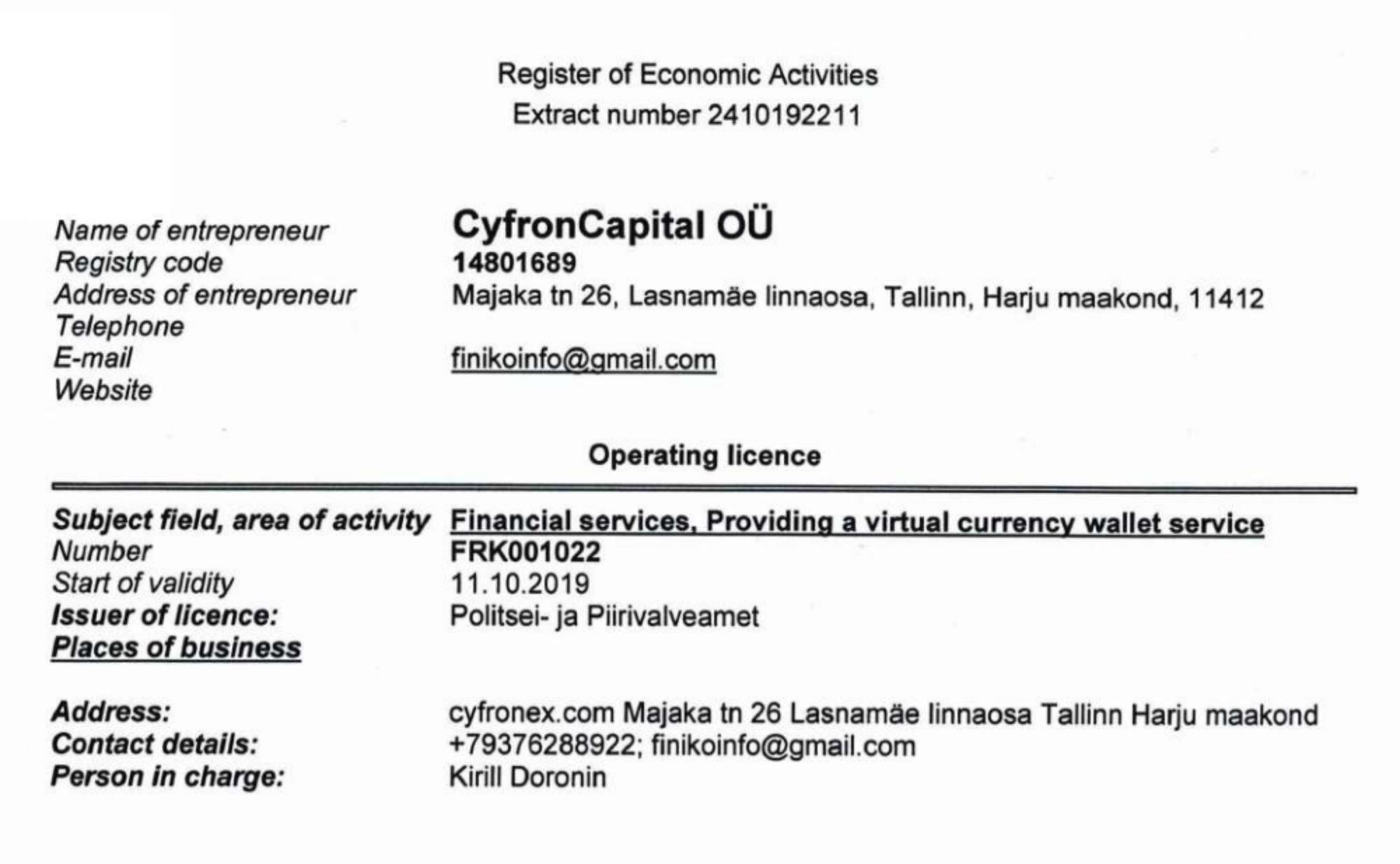Сайт thefiniko.com указывает в качестве юрлица компанию CyfronCapital OÜ, которая зарегистрирована в Эстонии и имеет лицензию на финансовую деятельность