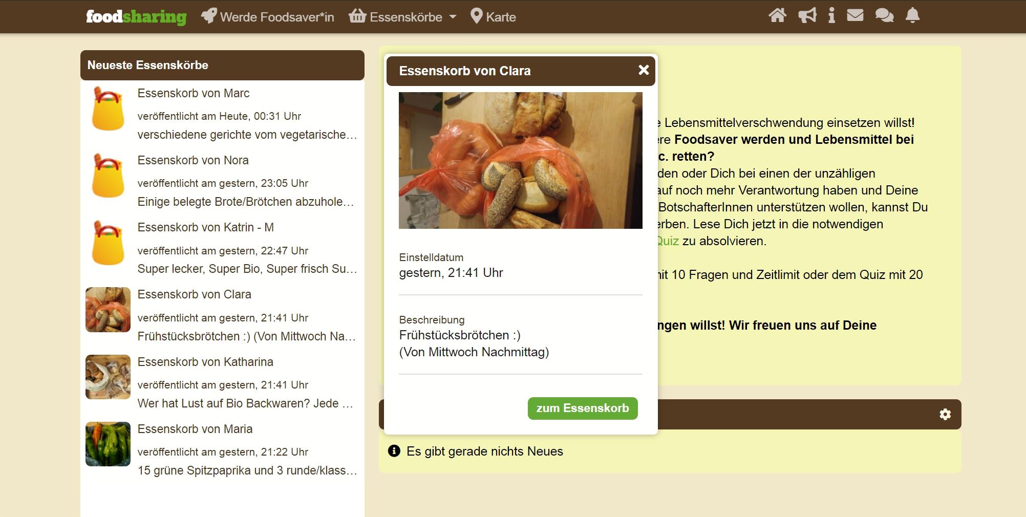В готовых корзинах на сайте немецкого фудшеринга можно найти почти что угодно. Например, отдают шесть больших мешков грецких орехов и сто литров консервированного шпината