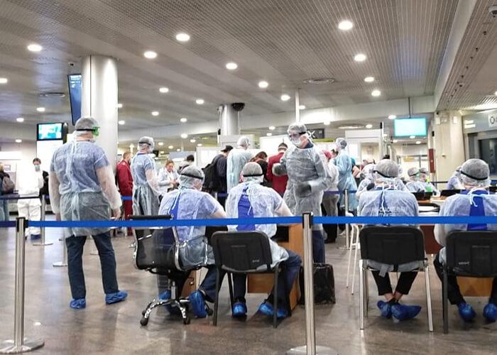 В аэропорту Шереметьево нам снова измерили температуру и дали подписать бумагу, чтомы обязуемся соблюдать карантин