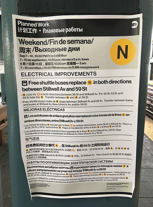 В Брайтон-Бич даже объявления в метро переведены на русский язык