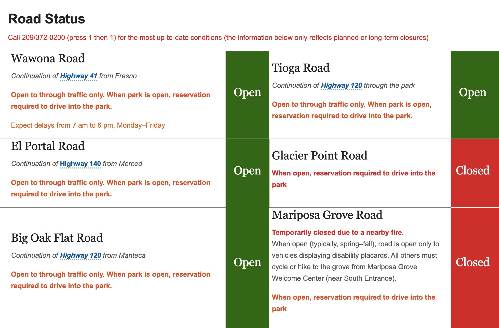 На официальном сайте национальных парков вСША указано, какие дороги закрыты ипочему. Например, всентябре 2020года Mariposa Grove Road была временно закрыта из-за пожаров