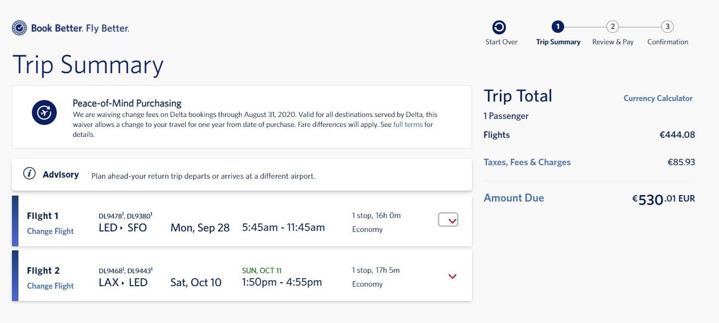 На сайте Delta Airlines билеты стоили 530,01&nbsp;€ — 45&nbsp;713&nbsp;<span class=ruble>Р</span> по&nbsp;курсу на&nbsp;август 2020&nbsp;года. Это почти на 5&nbsp;тысяч дешевле, чем на&nbsp;агрегаторе