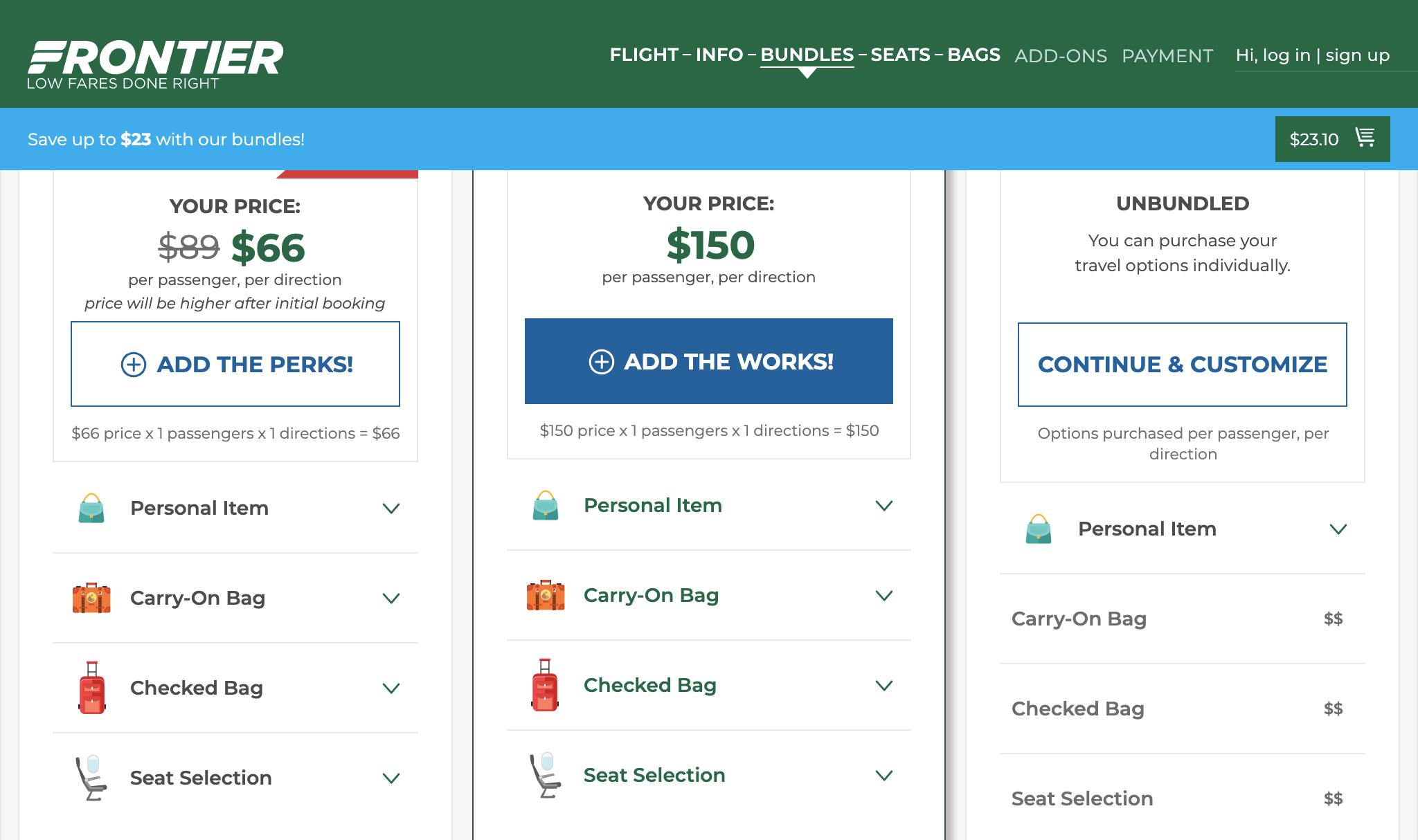 Билет авиакомпании Frontier стоит 23$ помаршруту Сан-Франциско — Лас-Вегас, ноневключает всебя багаж. Место сбагажом стоит 66$