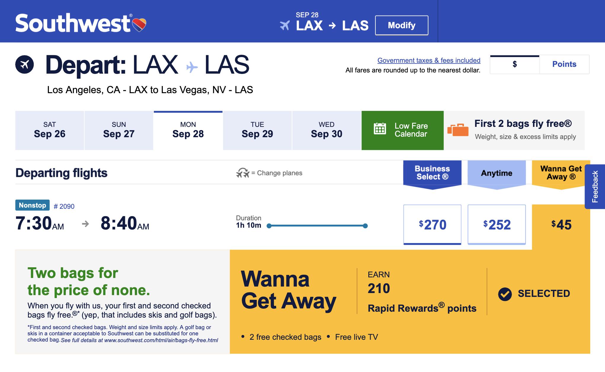 Билет авиакомпании Southwest помаршруту Сан-Франциско — Лас-Вегас стоит 45$, ноприэтом с собой можно взять двачемодана