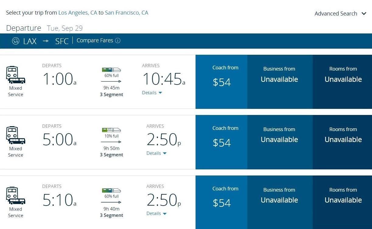 За сидячее место впоезде Лос-Анджелес — Сан-Франциско нужно будет заплатить 54$. Ехать придется около 10часов сдвумя пересадками