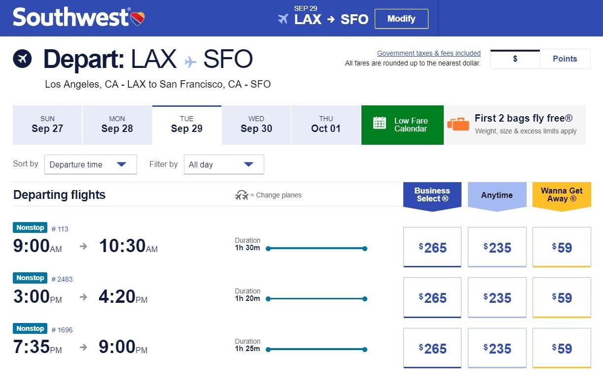 Билет насамолет Лос-Анджелес — Сан-Франциско стоит 59$