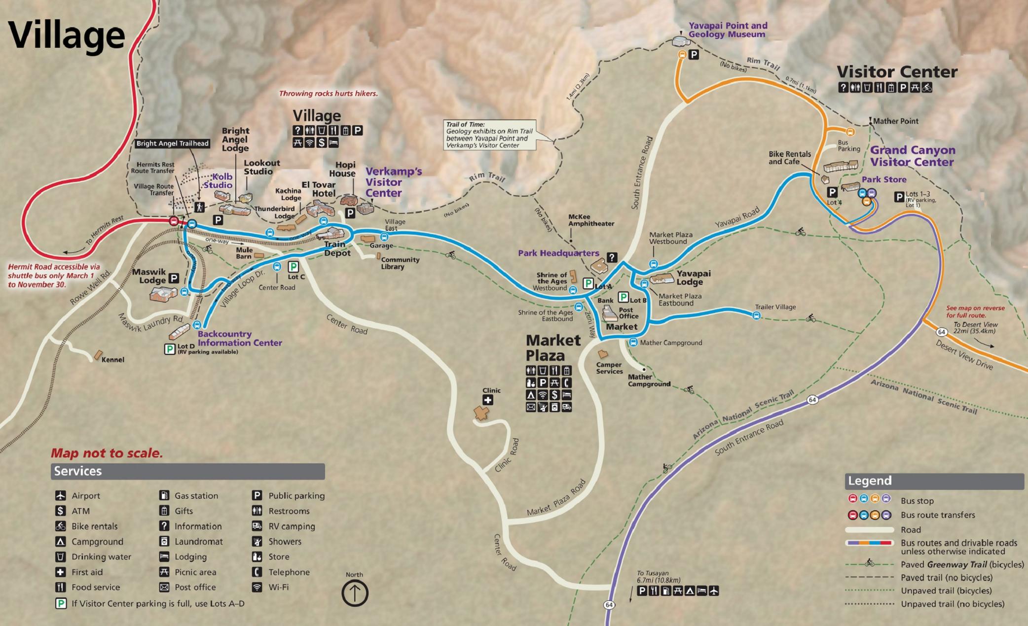 Карта Гранд-Каньона с автобусными маршрутами иосновными обзорными точками. Я выбрала Рим-Трейл — эта тропа обозначена черным пунктиром вверхней части карты. Источник: National Park Service