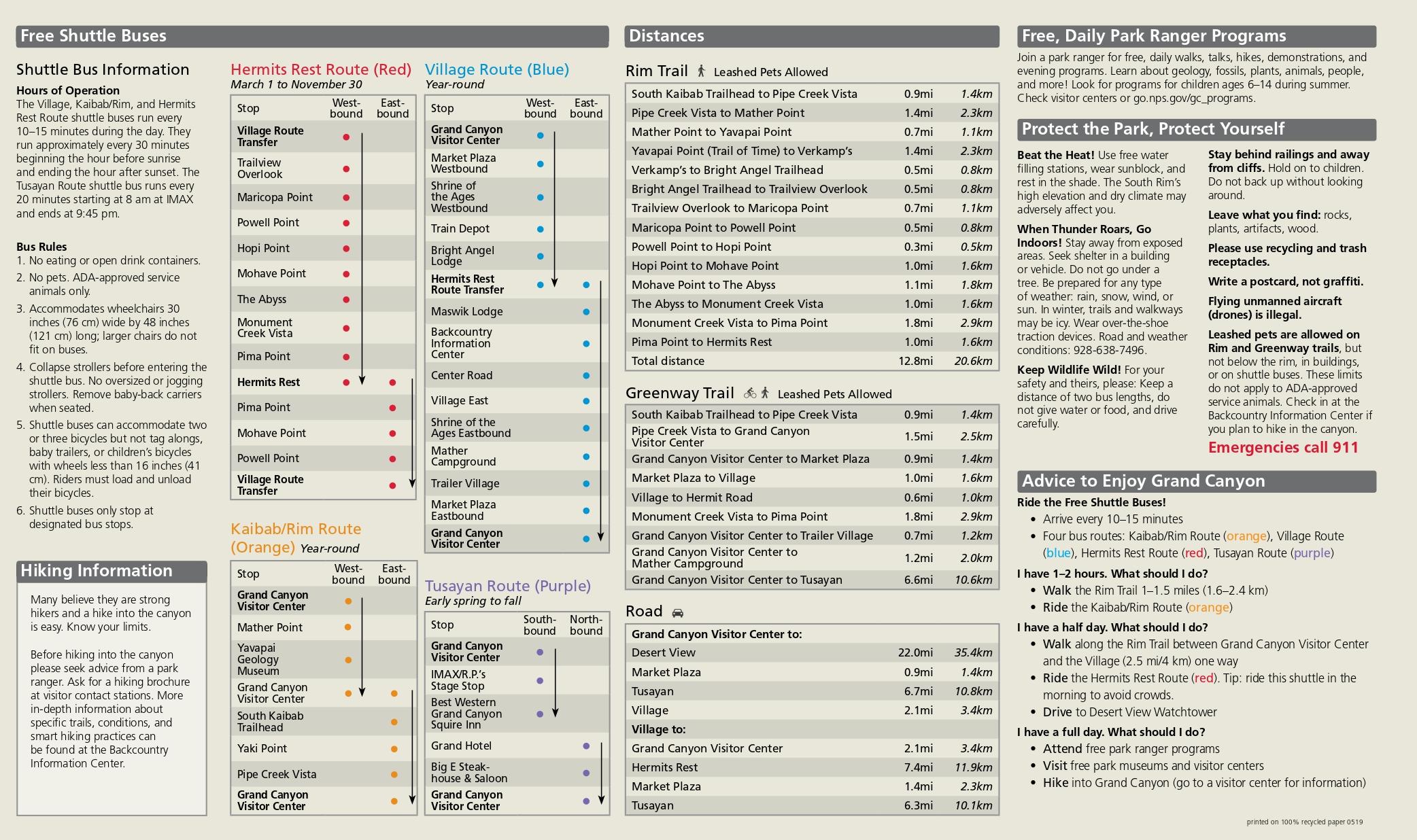 На сайте Гранд-Каньона есть информация обостановках местного автобуса иосновных маршрутах. Аеще внизу справа есть советы отом, какой маршрут выбрать взависимости отколичества свободного времени. Источник: National Park Service