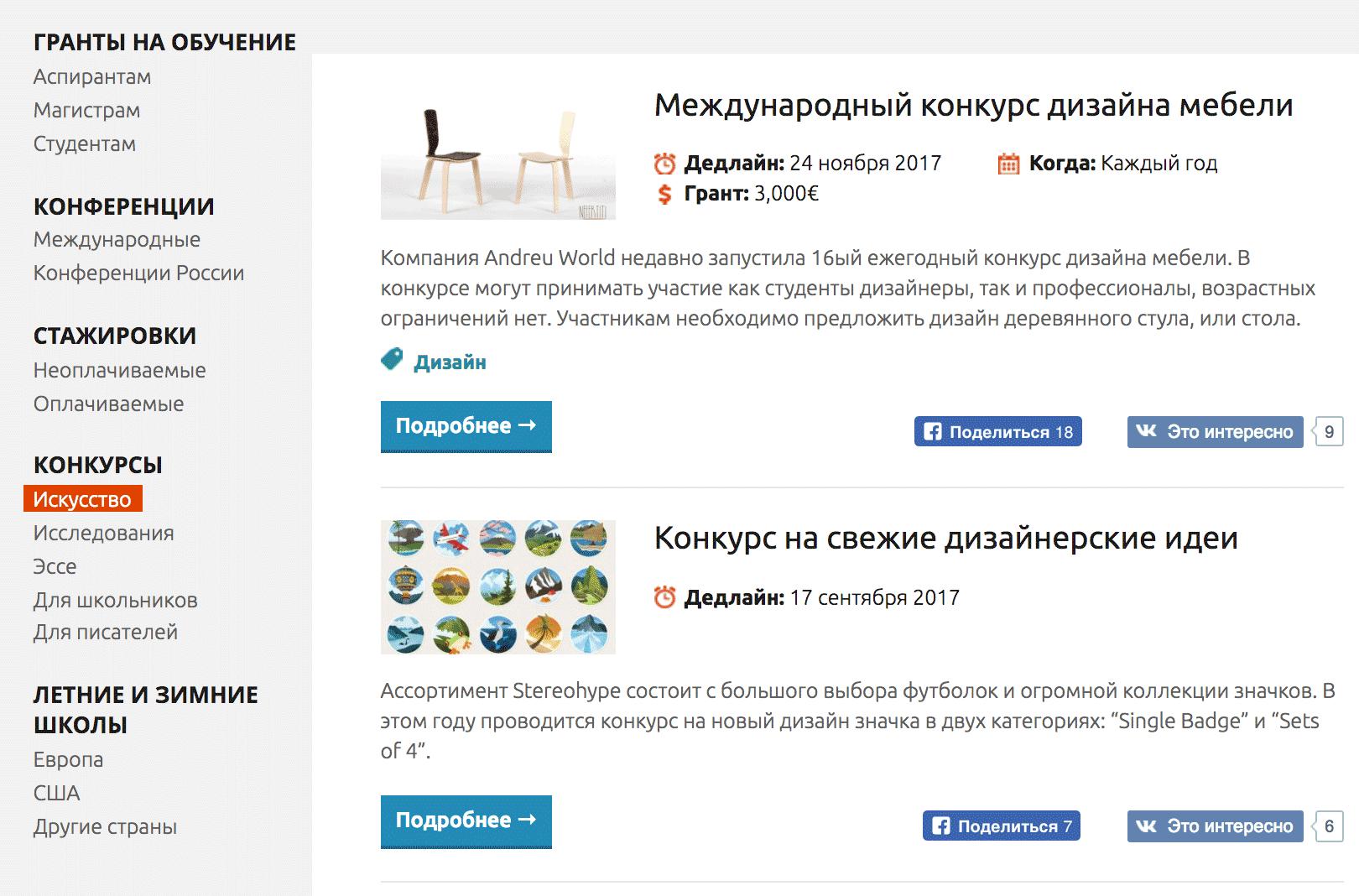 Конкурсы в области искусства на сайте «Грантист»