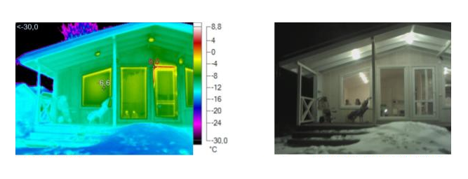 Тепловизор зафиксировал небольшие потери тепла в верху входной двери. Они отображаются красным цветом. В момент исследования дверь была неплотно закрыта