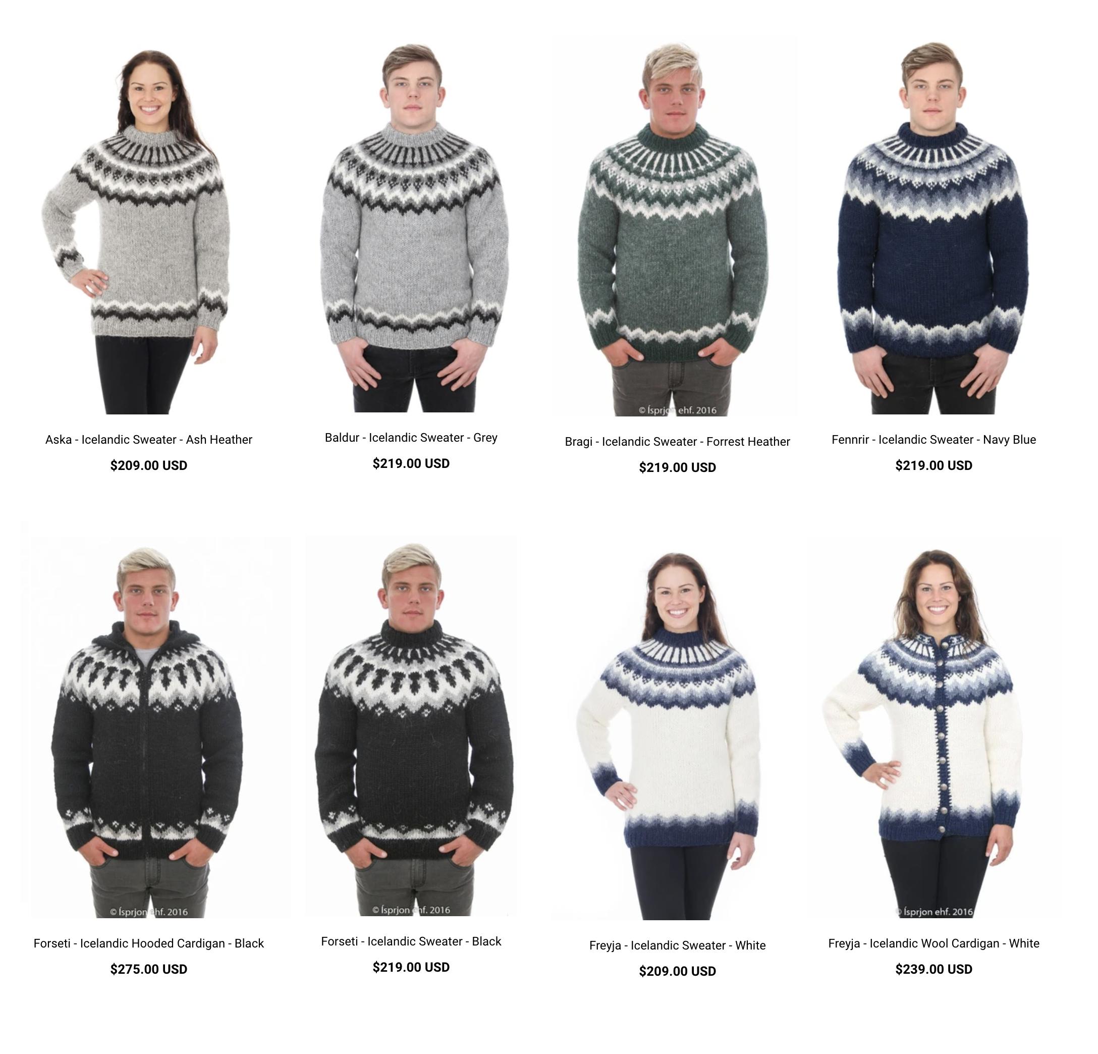 В интернет-магазинах исландские свитеры продаются и за 200$