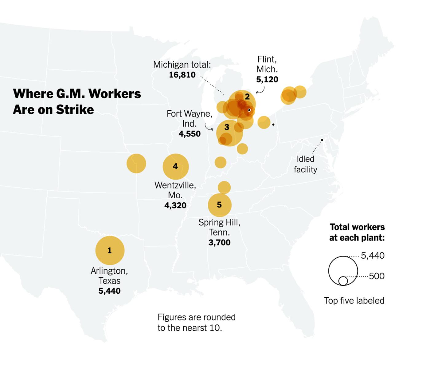 Где бастуют работники GM на настоящий момент. Источник: New York Times