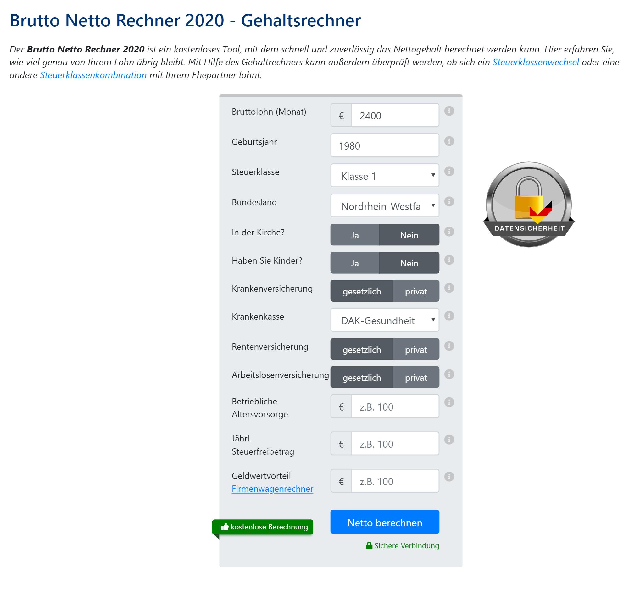 Немцы самостоятельно вычисляют сумму налога к уплате на специальных сайтах-калькуляторах