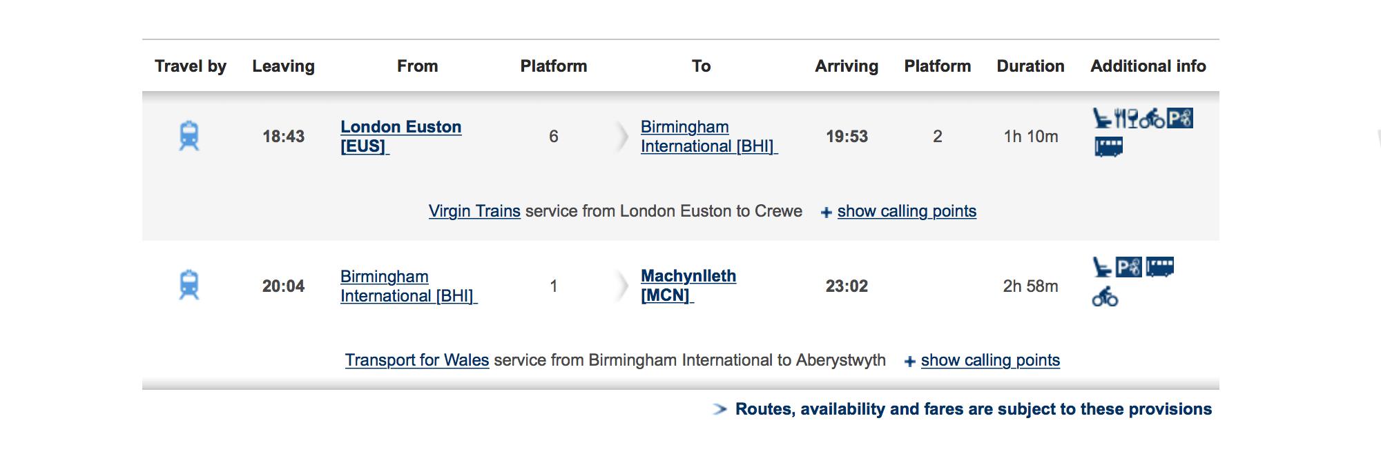 Британские поезда, в которые пускают с велосипедом, отмечены на сайте национальных дорог специальным значком