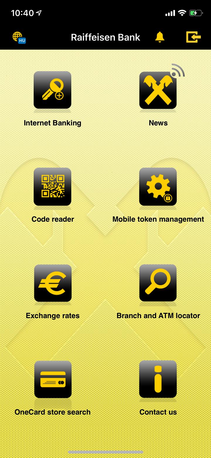 Так выглядит приложение венгерского «Райффайзена». На главном экране есть куча каких-то ненужных функций, но нет возможности в несколько кликов перевести деньги на другую карту или пополнить счет мобильного