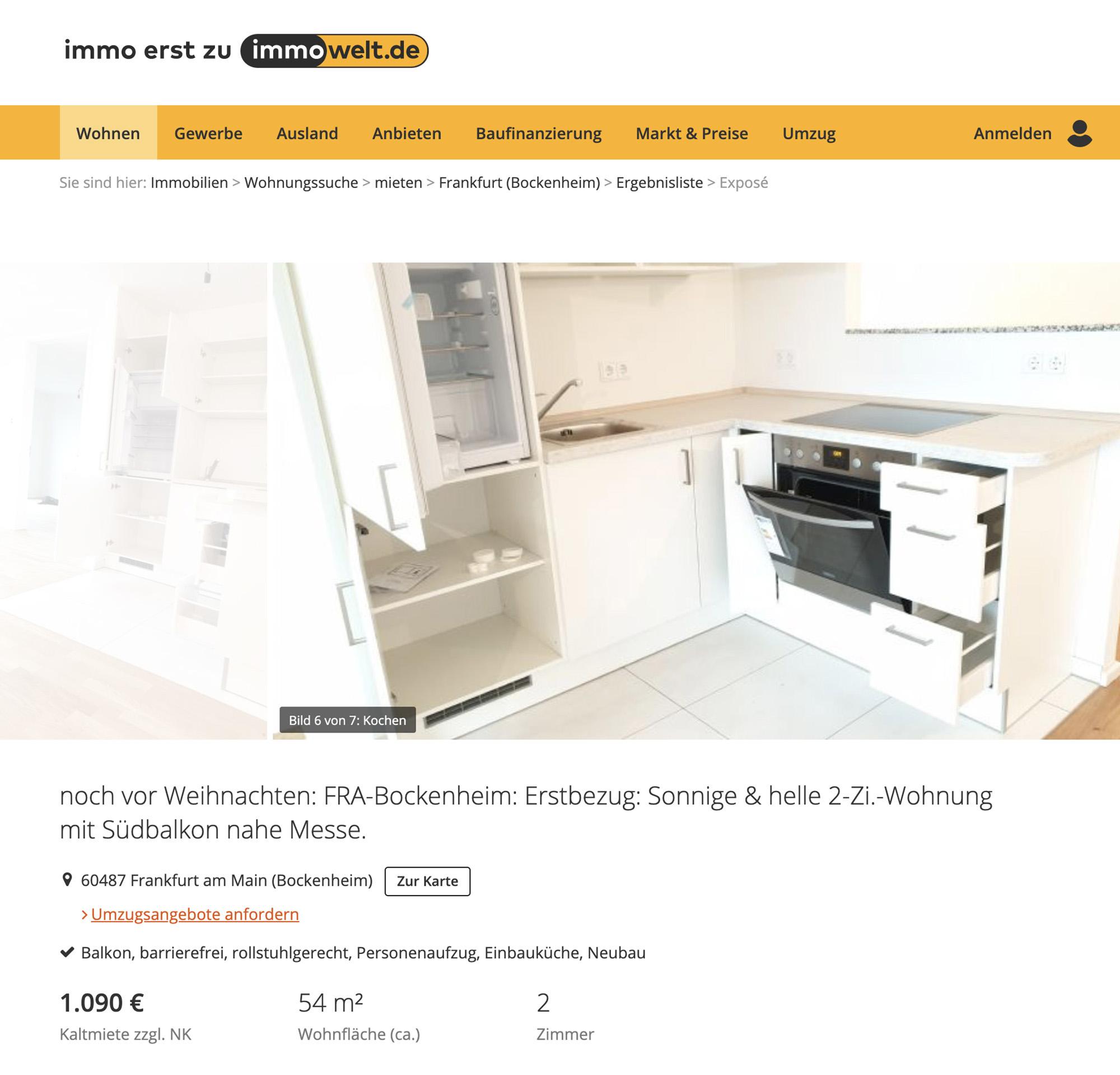 Стандартное предложение: пустая двухкомнатная квартира 54 м² в хорошем районе со встроенной кухней и санузлом за 1090€ (77 160<span class=ruble>Р</span>) в месяц. Однушка&nbsp;бы обошлась примерно в 750€ (53 000<span class=ruble>Р</span>). В цену аренды не включены коммунальные платежи