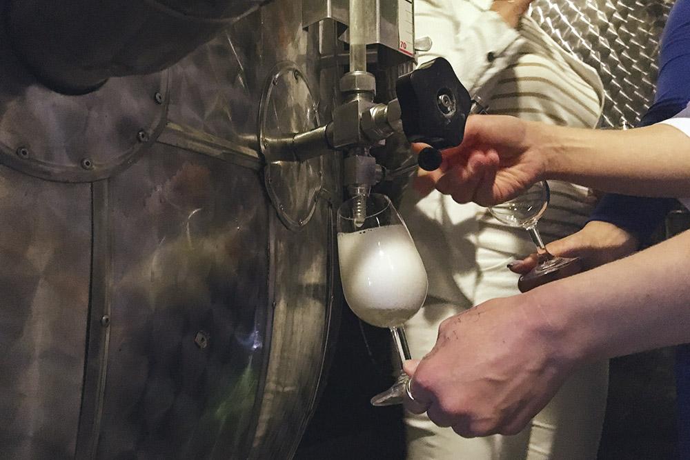 Дают попробовать игристое из акратофора — аппарата для шампанизации вина