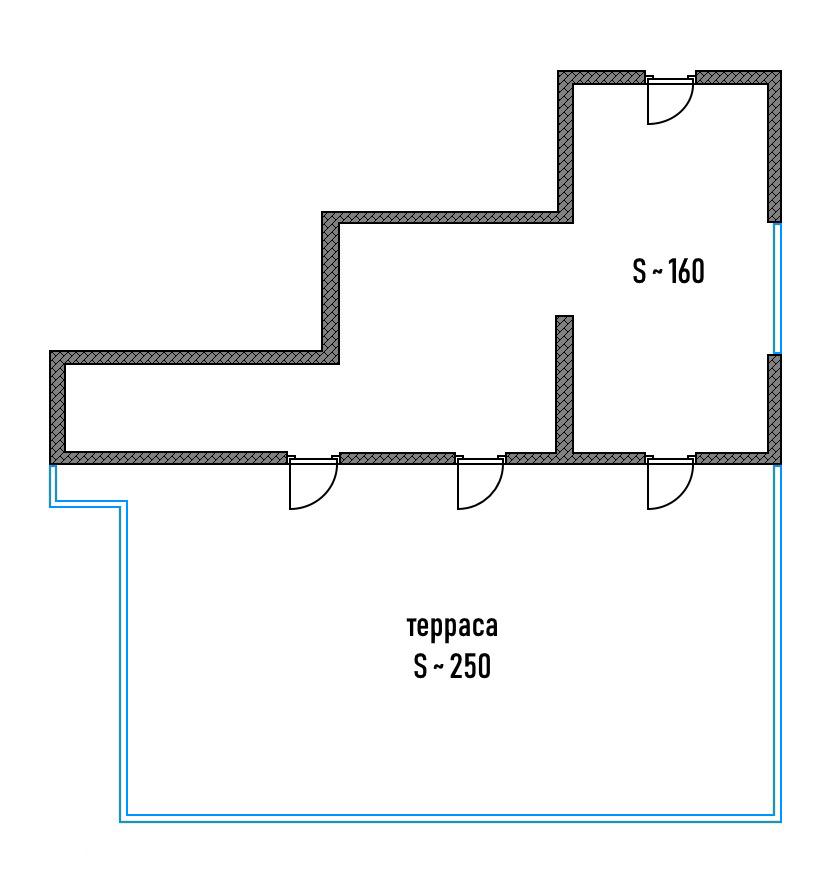 Студия 410м²: общая площадь 160м² и терраса 250м². Это пространство дляинтерьерных идей дизайнера и собственника