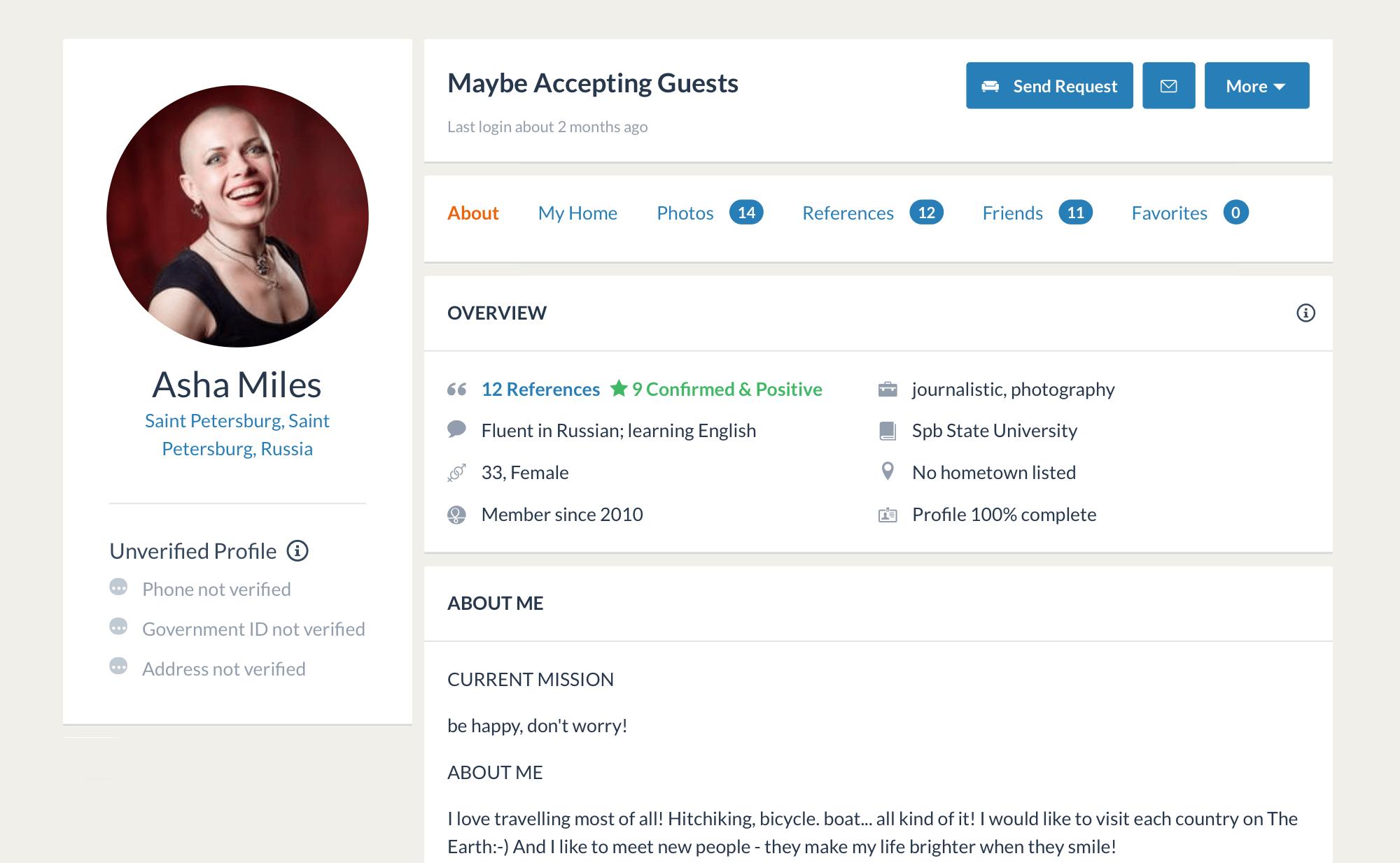 Мой профиль на «Каучсерфинге». У меня немного отзывов, потомучто заявки мы пишем со страницы моей попутчицы Нади
